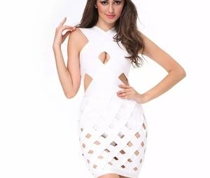 White Caged Bandage Dress